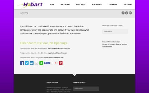 Screenshot of Jobs Page hobartgroupholdings.com - Careers | Hobart Group Holdings - captured Sept. 30, 2014