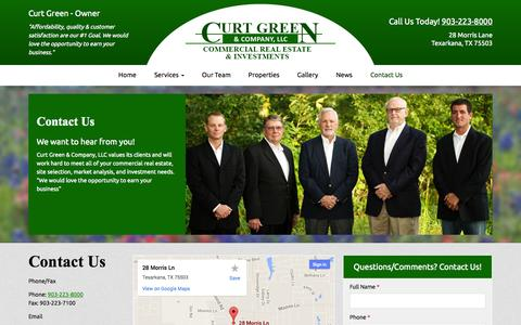 Screenshot of Contact Page curtgreen.com - Curt Green & Company | Contact Us - captured Oct. 3, 2014