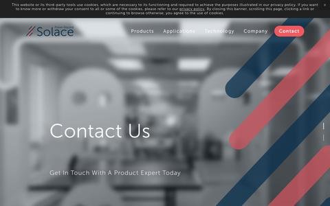 Screenshot of Contact Page solace.ca - Contact — Solace Power - Wireless Power Solutions - captured Oct. 18, 2018