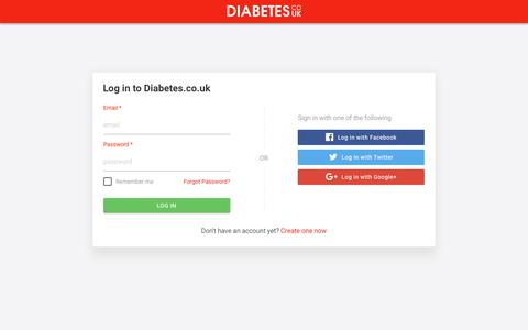 Screenshot of Signup Page diabetes.co.uk - DCUK ID - captured April 12, 2018