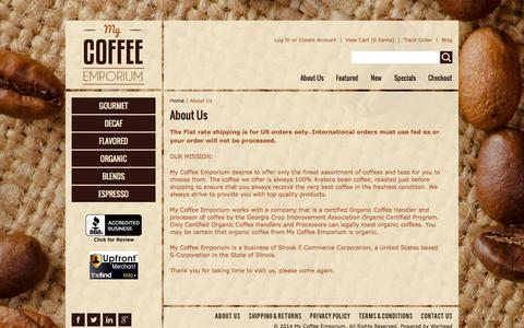 Screenshot of About Page mycoffeeemporium.com - About Us - captured Oct. 26, 2014