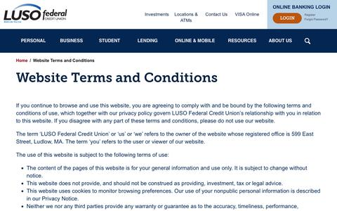 Screenshot of Terms Page lusofederal.com - Website Terms and Conditions | Luso Federal Credit Union - captured Sept. 30, 2018