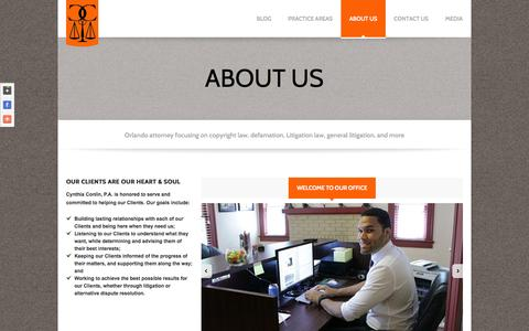 Screenshot of About Page conlinpa.com - About Us: Cynthia Conlin, P.A. Orlando Law FirmLaw Office of Cynthia Conlin, PA - captured Oct. 3, 2014
