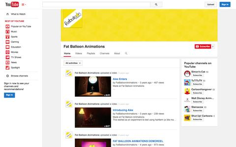 Screenshot of YouTube Page youtube.com - Fat Balloon Animations  - YouTube - captured Oct. 23, 2014