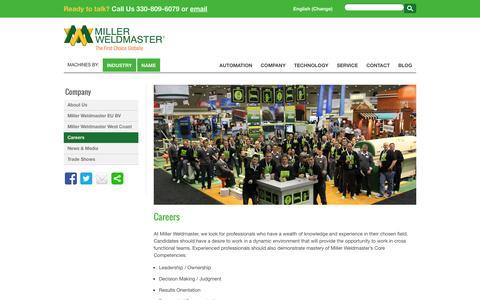 Screenshot of Jobs Page weldmaster.com - Manufactures of Hot Air | Hot Wedge | Impulse Welding Machines - captured Oct. 27, 2014