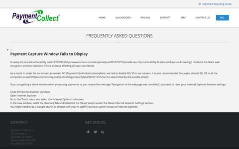 Screenshot of FAQ Page paymentcollect.com - FAQ - QuickBooks Payment ProcessingQuickBooks Payment Processing - captured Oct. 27, 2016