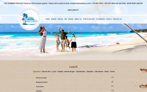 Screenshot of Menu Page marysboon.com - Mary's Boon Hotel Located in Simpson Bay – St MaartenLunch - Mary's Boon Hotel Located in Simpson Bay - St Maarten - captured July 6, 2018