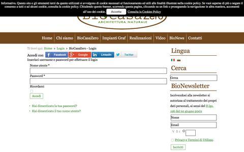 Screenshot of Login Page biocasazero.it - BioCasaZero - Login - captured Oct. 10, 2017