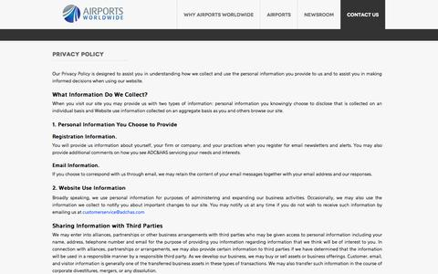 Screenshot of Privacy Page airportsworldwide.com - ADC & HAS Airports Worldwide | Privacy Policy - captured Oct. 4, 2014