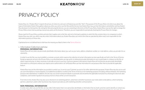 Screenshot of Privacy Page keatonrow.com - Privacy Policy - Signup - Stylist - captured Nov. 23, 2015