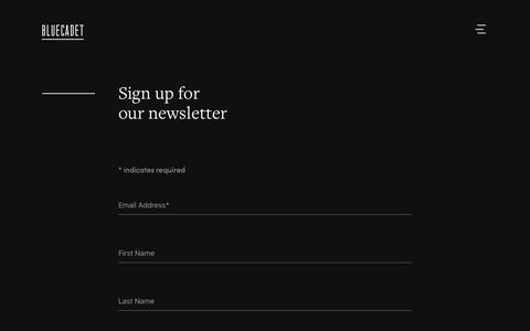 Screenshot of Press Page bluecadet.com - Newsletter | Bluecadet - captured Aug. 3, 2018