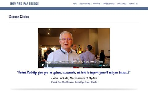 Screenshot of Testimonials Page howardpartridge.com - Howard Partridge Small Business Coach Success Stories — Howard Partridge Small Business Coach - captured Sept. 23, 2018