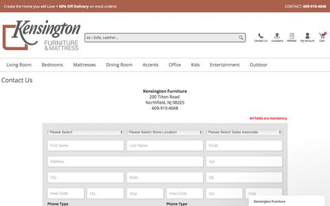 Screenshot of Contact Page kensingtonfurniture.com - Questions about furniture availability or furniture delivery? Contact us! - Kensington Furniture - captured Jan. 24, 2018