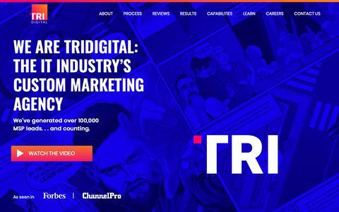Screenshot of Home Page tridigitalmarketing.com - We Are Your IT Marketing Department - captured Nov. 19, 2018