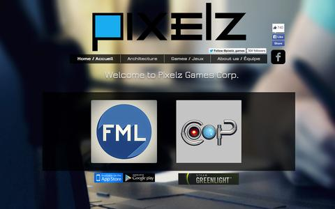 Screenshot of Home Page pixelzgames.com - Pixelz Games - captured Sept. 30, 2014