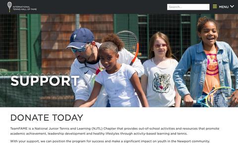 Screenshot of Support Page tennisfame.com - TeamFAME Support - captured Nov. 2, 2018