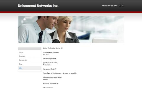 Screenshot of Jobs Page uniconnectnetworks.com - Jobs - Uniconnect Networks Inc. - captured Feb. 22, 2016