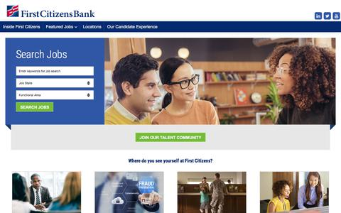Screenshot of Jobs Page firstcitizens.com - Jobs and Careers | First Citizens Bank - captured Dec. 27, 2017