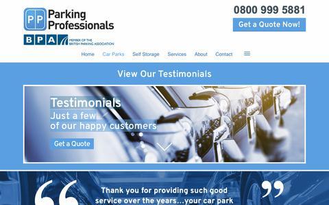 Screenshot of Testimonials Page parking-pros.co.uk - Testimonials for 1st class parking service | Parking Professionals - captured Sept. 26, 2018
