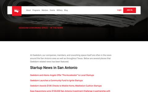 Screenshot of Press Page geekdom.com - Geekdom Coworking Space, San Antonio TX - In The News - captured Nov. 4, 2018