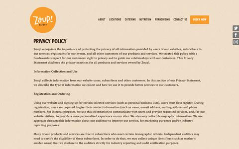 Screenshot of Privacy Page zoup.com - Privacy - Zoup! - captured May 17, 2019