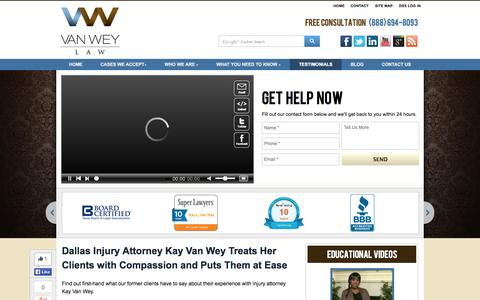 Screenshot of Testimonials Page vanweylaw.com - Dallas Car Accident Attorney Client Testimonials | Van Wey Law | Van Wey Law, P.L.L.C. - captured Oct. 7, 2014