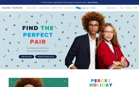 Screenshot of Home Page warbyparker.com - Glasses & Prescription Eyeglasses | Warby Parker - captured Nov. 21, 2018