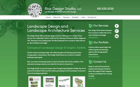 Screenshot of Services Page riosdesign.com - Landscape Design and Landscape Architecture Services - Rios Design Studio, LLC - captured Oct. 7, 2014