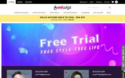 Screenshot of Trial Page uniwigs.com - Free Trial, Free style, Free life - captured Sept. 23, 2018