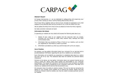 Screenshot of Privacy Page carpag.com - CARPAG INTERNACIONAL S.L - captured Jan. 26, 2016