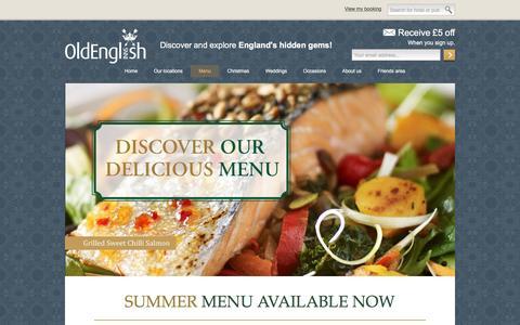 Screenshot of Menu Page oldenglishinns.co.uk - Menu | Old English Inns - captured Aug. 31, 2016