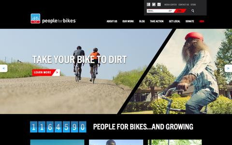 Screenshot of Home Page peopleforbikes.org - PeopleForBikes - captured Oct. 23, 2015
