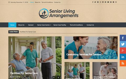 Screenshot of Home Page seniorlivingarrangements.com - Senior Living Arrangements | Raising The Standard Of Senior Care - captured Nov. 17, 2018