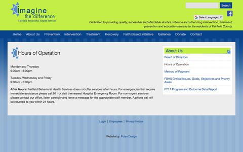 Screenshot of Hours Page fairfieldbhs.org - Hours of Operation | Fairfield Behavioral Health Services - captured July 2, 2018