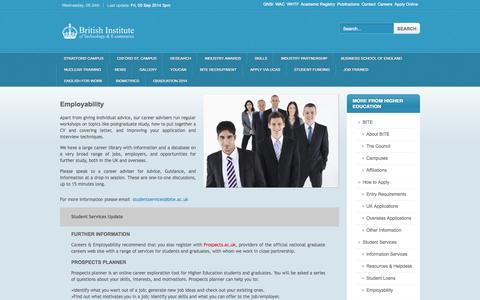 Screenshot of Jobs Page bite.ac.uk - British Institute of Technology & E-Commerce - captured Sept. 24, 2014
