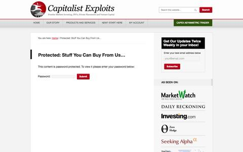 Screenshot of Products Page capitalistexploits.at - Stuff You Can Buy From Us… - captured Sept. 23, 2014