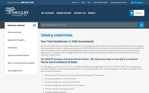 Screenshot of Terms Page mcguffmedical.com - Terms & Conditions | McGuff Medical Products - captured Oct. 18, 2017