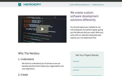 Screenshot of Landing Page nerdery.com - Custom Software Development - captured Oct. 19, 2016