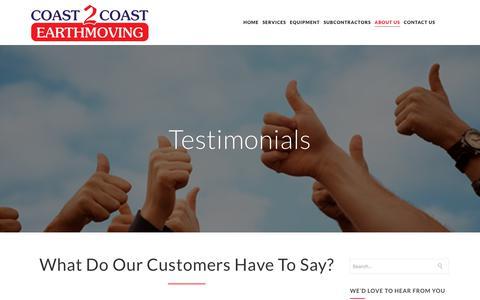 Screenshot of Testimonials Page coast2coast.com.au - Testimonials - Coast 2 Coast Earthmoving - captured Nov. 10, 2018