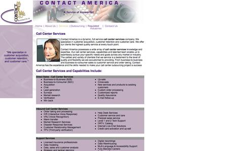 Screenshot of Services Page contact-america.com - Call Center Services: Call Center Services For Direct Sales & Customer Care - captured July 8, 2018