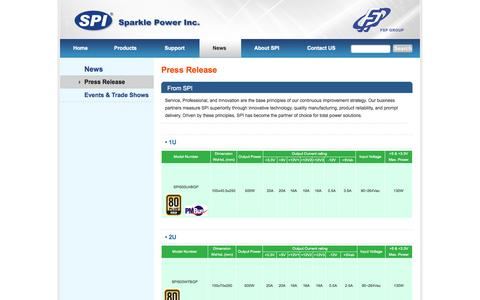 Screenshot of Press Page sparklepower.com - Welcome to SPI :::PC Power Supply, IPC Power Supply, Open Frame, Adapter, Inverter::: - captured Oct. 3, 2014