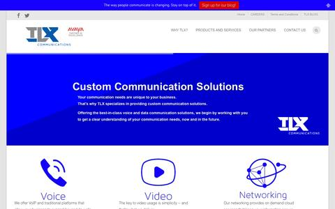 Screenshot of Home Page telcologix.com - Offering the best-in-class Avaya VoIP, video, and data communication solutions - captured Oct. 9, 2014