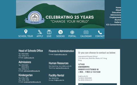 Screenshot of Contact Page ics.edu.hk - ics.edu.hk | Contact - captured June 25, 2017