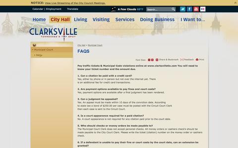 Screenshot of FAQ Page cityofclarksville.com - City of Clarksville, TN : FAQs - captured Sept. 29, 2014