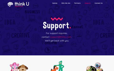 Screenshot of Support Page thinku.com - Support – ThinkU - captured Nov. 17, 2017