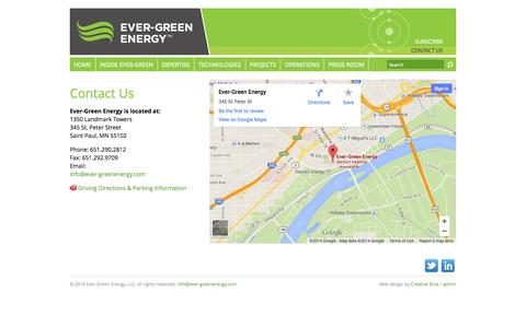 Screenshot of Contact Page ever-greenenergy.com - Contact Us » Ever-Green Energy - captured Sept. 30, 2014