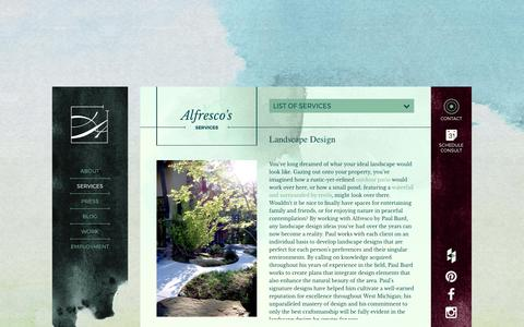 Screenshot of Services Page alfresco-landscapes.com - Premier Residential Landscape Design by Alfresco | Grand Rapids, MI - captured May 29, 2017