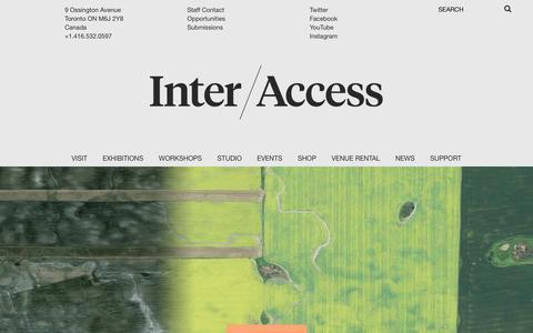 Screenshot of Home Page interaccess.org - InterAccess  | Where art and tech meet - captured Feb. 11, 2016