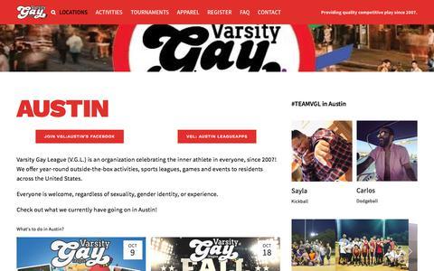 Screenshot of Locations Page varsitygayleague.com - Austin — Varsity Gay League - captured Sept. 20, 2018