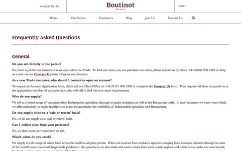 Screenshot of FAQ Page boutinot.com - Frequently Asked Questions - Boutinot - captured Aug. 3, 2018